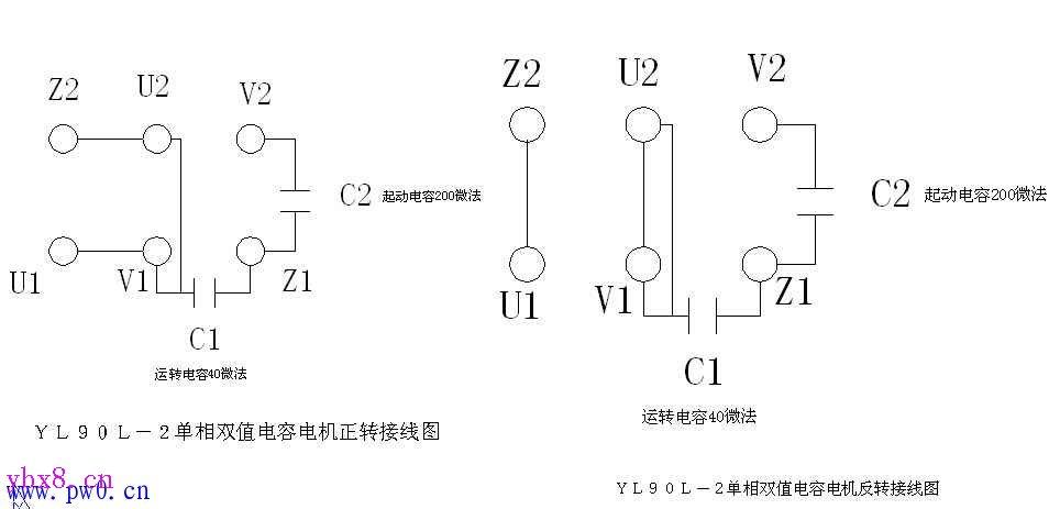 单相双值电容电机如何接线图