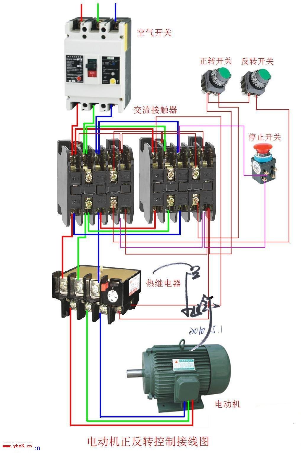 三相电动机绕组接法_三相电动机正反转接触器互锁实物接线图_电工基础知识_电工技术 ...