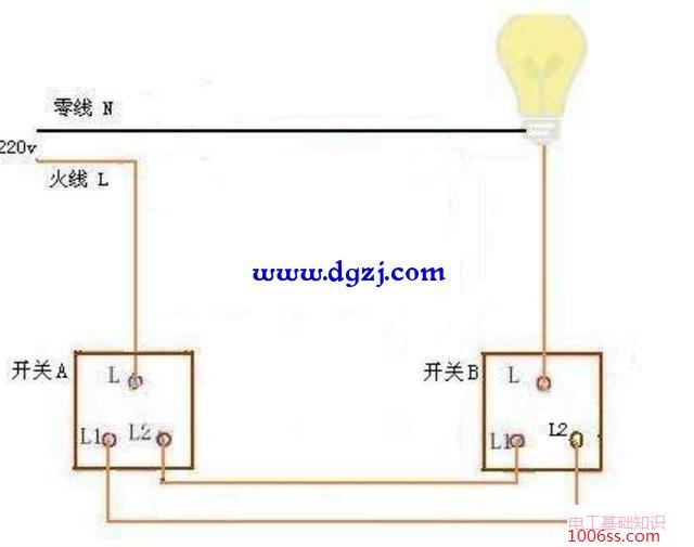 声光控灯头怎么接线_一个灯两个开关控制怎么接线图_电工基础知识_电工技术-电工最 ...